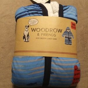woodrow & friends kids sherpa lined robe